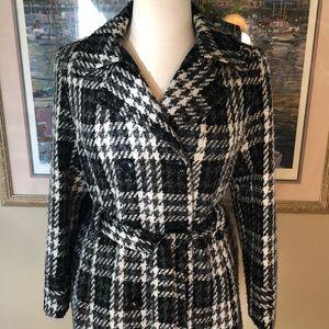 Glen Plaid Trench Style Coat